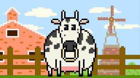 pixel art cow