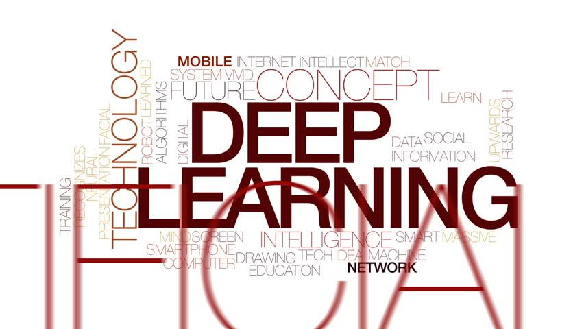 Deep learning animated word cloud. Kinetic typography.