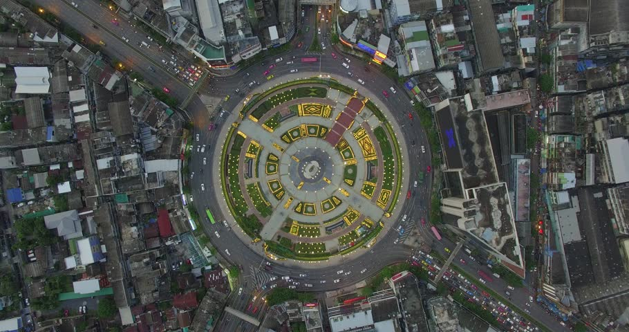 Flying above Huge roundabout, Bangkok, Thailand | Shutterstock HD Video #22802857