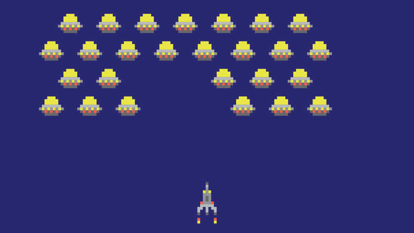 Space arcade video game animation concept. Pixel art style ufos and spaceship cartoon HD motion design. | Shutterstock HD Video #22804471