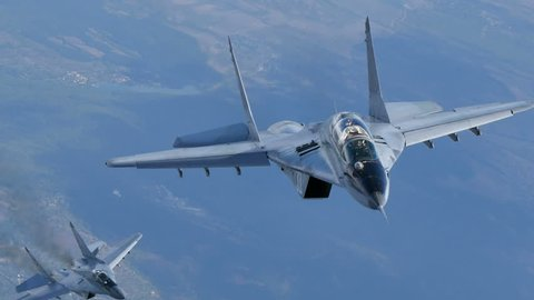 Fighter Aircraft Mikoyan Gurevich MiG-29 Fulcrum in Flight Bulgarian Air Force Air to Air 4K Ultra HD Video. The Mikoyan Gurevich MiG-29 Fulcrum is a russian fighter jet. Bulgaria 7th Oct. 2015