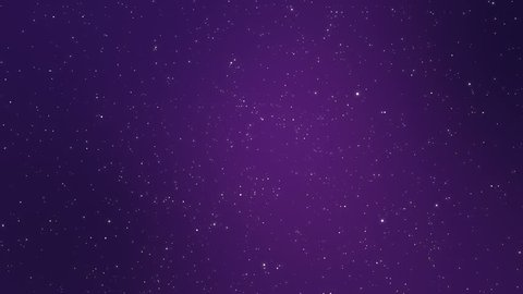Night sky full of stars fantasy animation made of magical sparkly white and yellow light particles flickering on a dark purple background.