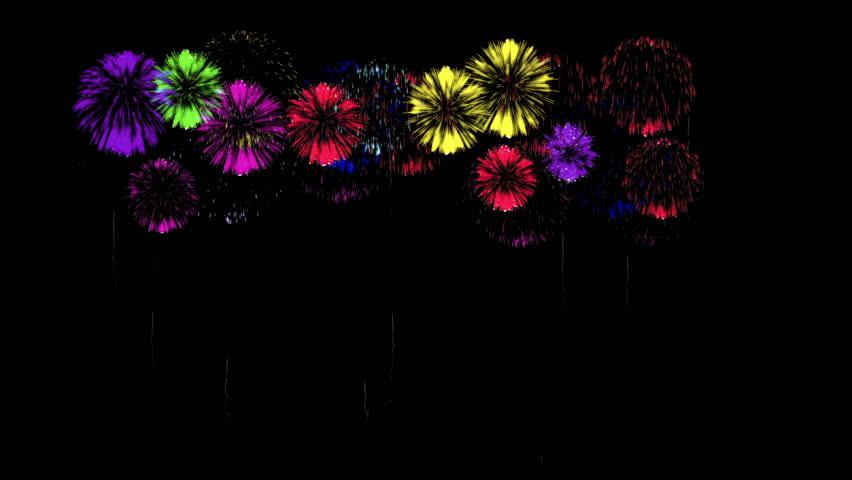 Colorful fireworks at night. Spectacular firecracker 3d render. Green version 42 | Shutterstock HD Video #22836007