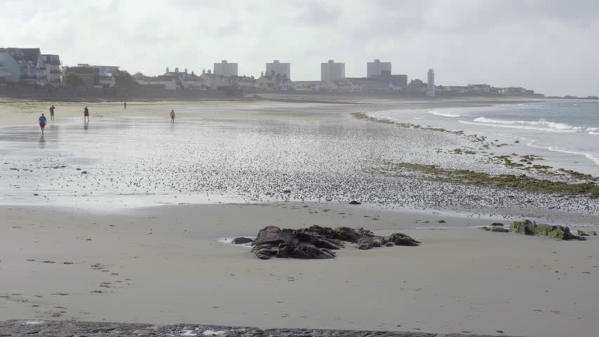 South Beach Havre des Pas, St Helier, Jersey UK Channel Islands Stock Footage. Jersey UK Channel Islands 29/07/2015 Low tide on the South beach in St Helier   Shutterstock HD Video #22845637
