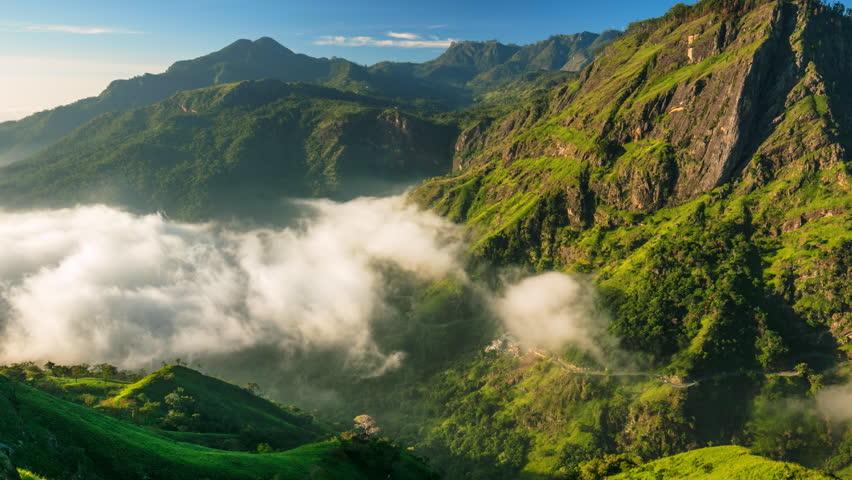 Sri Lanka landscapes nature background. Time lapse of running clouds in Ella, Sri Lanka  #22869967