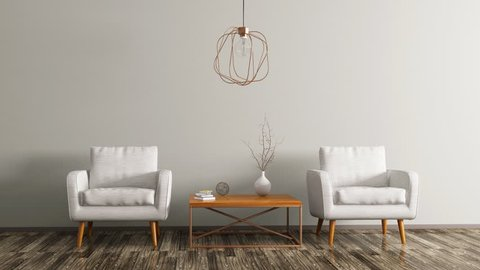 Interior of living room with coffee table, white armchairs and copper lamp 3d animation