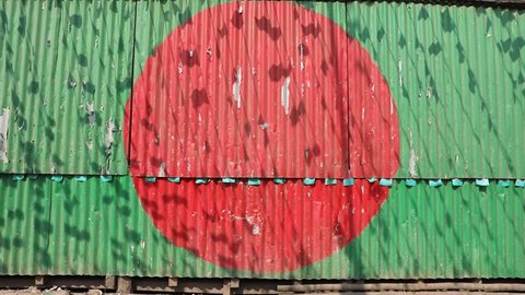 DHAKA, BANGLADESH - JANUARY 08, 2017: Painting of a Bangladesh flag