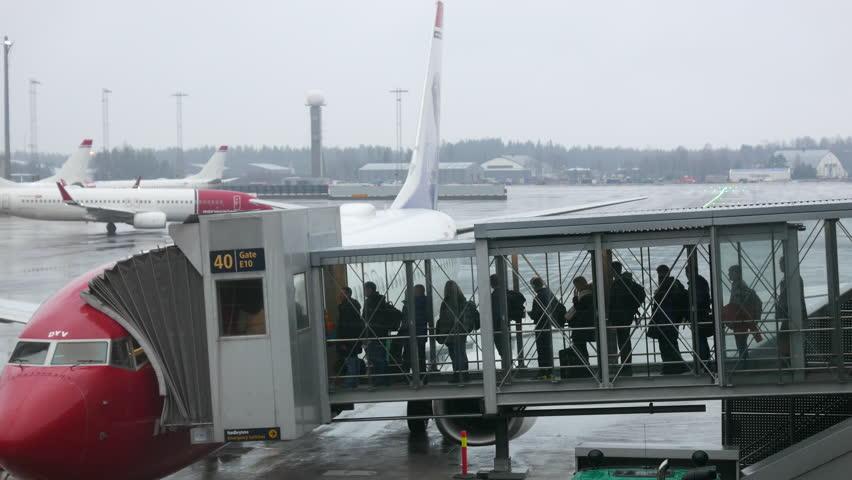 Oslo Norway December 21 2016 4k Footage Of People Boarding Airplane At Airport Gardermoen Is The Main International Serving
