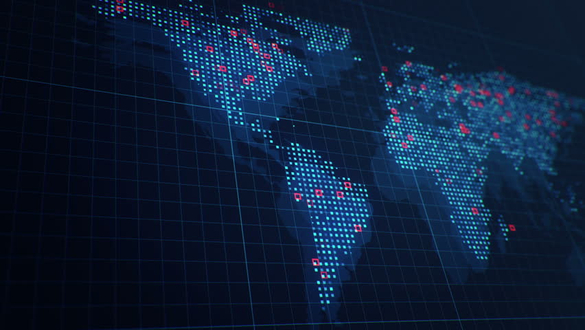 Abstract animation of World map in digital screen with colorful dots and lines. Animation of seamless loop. | Shutterstock HD Video #22911094