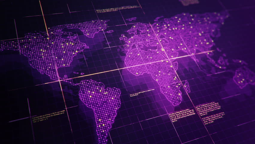 Abstract animation of World map in digital screen with colorful dots and lines. Animation of seamless loop. | Shutterstock HD Video #22911754