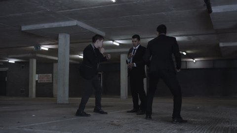 4K Asian gangster fighting in dark parking lot with members of a rival gang Dec 2016-UK