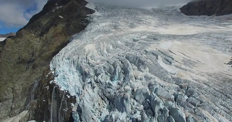 Aerial view above the glacier - Glacier melting