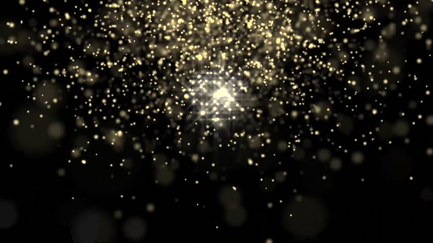Golden glowing star particle in random direction  abstract background animation motion graphic 3D render with copy space on black background
