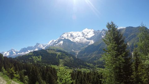 POv from train to Mont Blanc mountain massif (Chamonix valley, France, view from Plaine Joux outskirts).