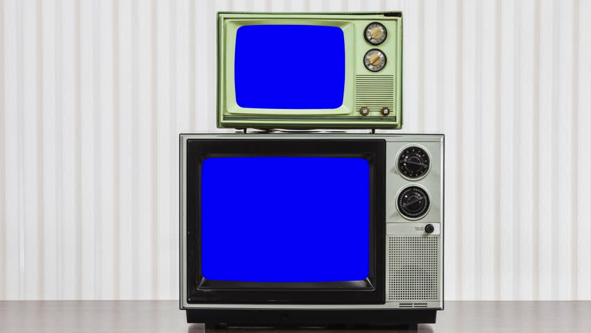 Two Vintage Televisions with Zoom into Chroma Key Blue Screen | Shutterstock HD Video #22996057