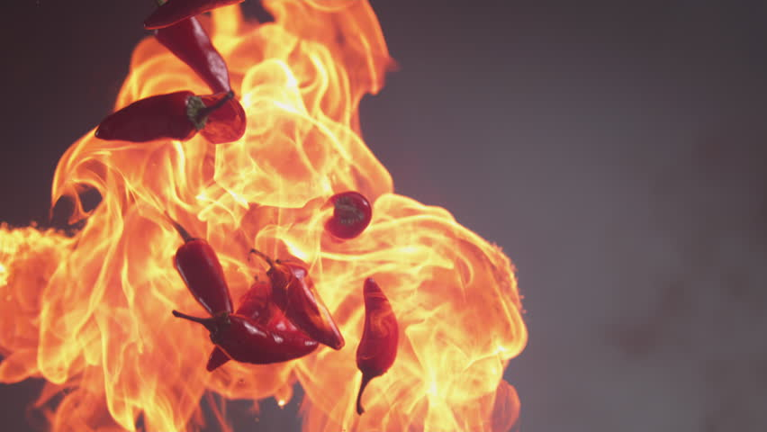 Flames and jalapeno peppers in super slow motion, shot on Phantom Flex 4K | Shutterstock HD Video #23012827