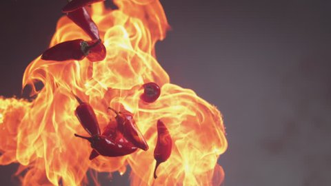 Flames and jalapeno peppers in super slow motion, shot on Phantom Flex 4K