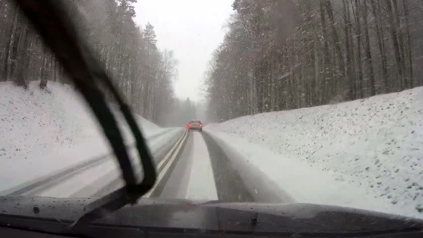 driving a car in heavy snow #23020687