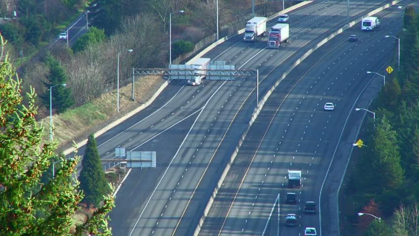 Portland Oregon Freeway Traffic On Interstate 84 Real