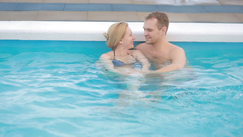Romantic Couple In Love Relaxing In Hot Pool.   HD