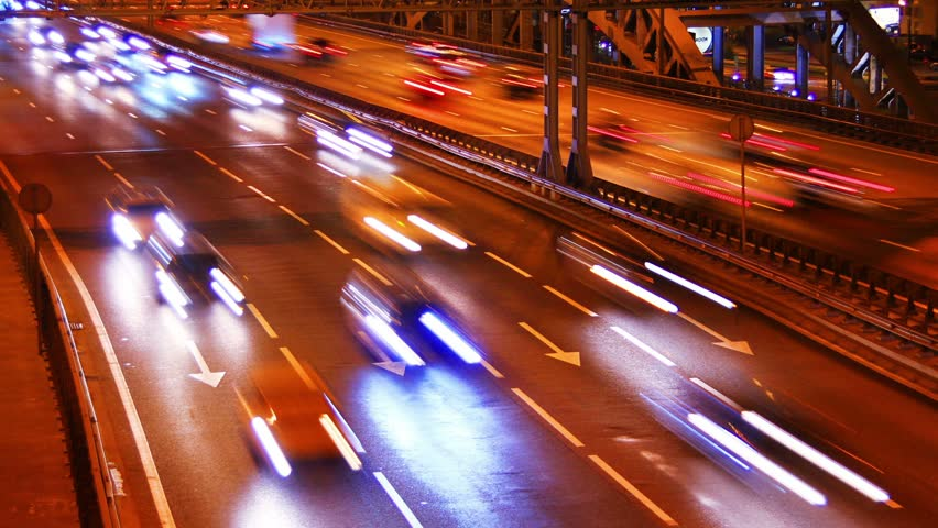 Cinemagraph night traffic on city freeway time-lapse | Shutterstock HD Video #23121037