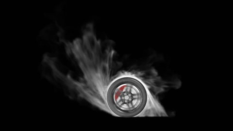 Burnout car wheel with alpha channel