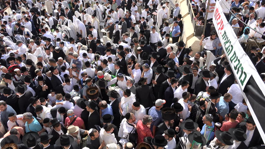 Jerusalem israel 19 october 2016 israel religion and culture jerusalem israel 19 october 2016 overhead view of massive crowds of jewish male sciox Image collections