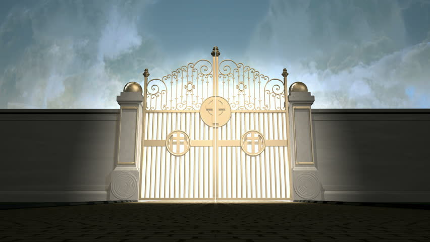 A 4K of a camera moving towards heavens golden gates opening to a blinding ethereal light on a cloudy background