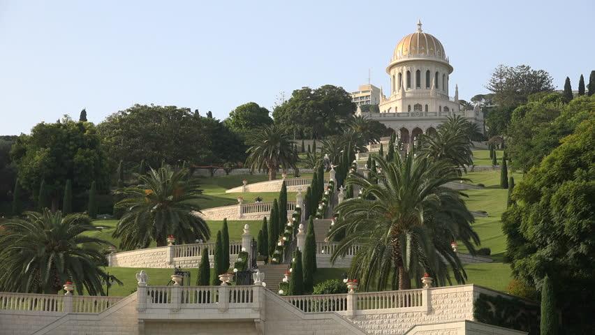 HAIFA, ISRAEL - NOVEMBER 2016: Panoramic view up towards the beautiful Bahai gardens in Haifa, Israel    Shutterstock HD Video #23151547