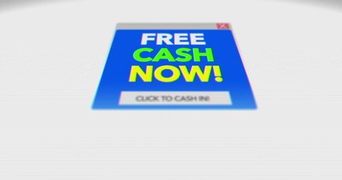 Generic Free Money online popup virus scam on screen   ALT Angle