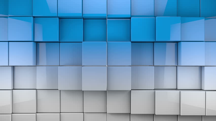 White And Blue Extruded Cubes Geometric 3d Render