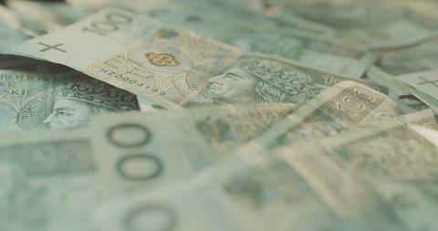 Polish zloty banknotes closeup. Rotating banknotes.
