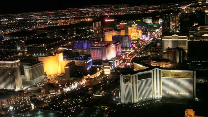 Las Vegas - Circa 2010: The Las Vegas strip in 2010. Aerial view of the Las vegas strip at night in Las Vegas, Nevada.