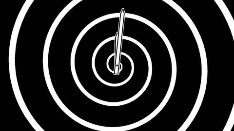 Motion background with spinning clock and running spiral in 12 hour seamless loop. (Full-HD 1920x1080 24s/30fps)