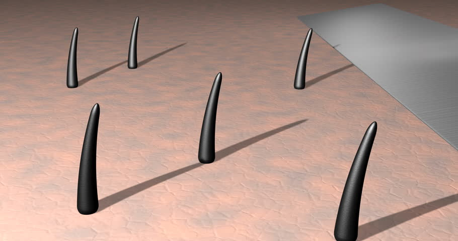 Close up, magnified shot of razor blade cutting hair follicles on skin. 3d animation.
