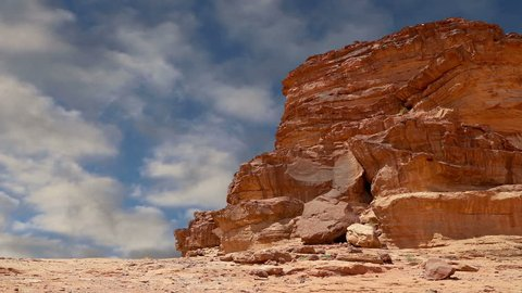 Wadi Rum Desert, Jordan, Middle East-- also known as The Valley of the Moon is a valley cut into the sandstone and granite rock in southern Jordan 60 km to the east of Aqaba