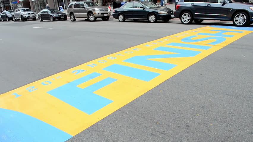 BOSTON - APR 25: Boston Marathon Finish line at Boylston Street  on April 25, 2016 in Boston, USA. The Boston Marathon was 1st run in April 1897.