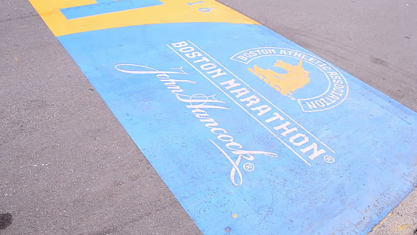 BOSTON - APR 25: Boston Marathon Finish line at Boylston Street on April 25, 2016 in Boston, Massachusetts, USA. The Boston Marathon was 1st run in April 1897.
