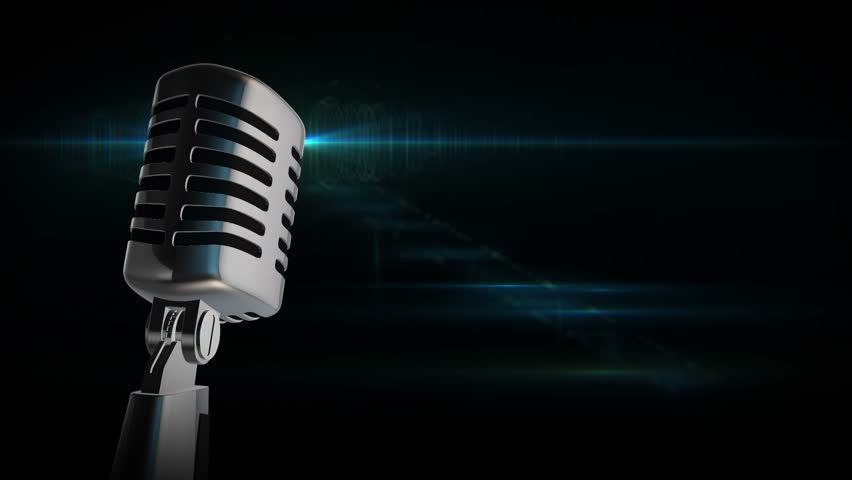 Close-up Of Retro Microphone With Blurred Lights At Background ...