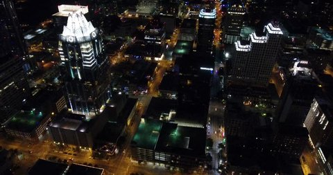 Austin Downtown, Night, Aerial