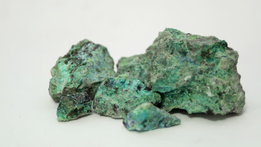 A sample of the copper mine oxide ores Malachite and Chrysocolla in the raw mineral state.