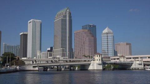 Tampa skyline CBD skyscrapers, Florida, USA, tracking shot.