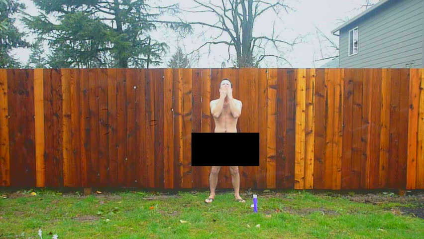 Naked man with censor bar walks into frame and showers in rainstorm advertisement.