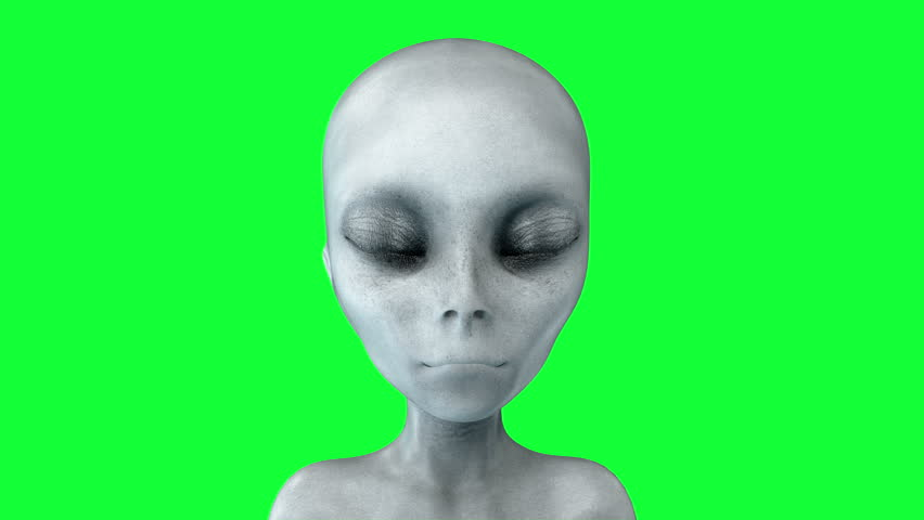 alien opens eyes. UFO concept. green screen 4k animation.