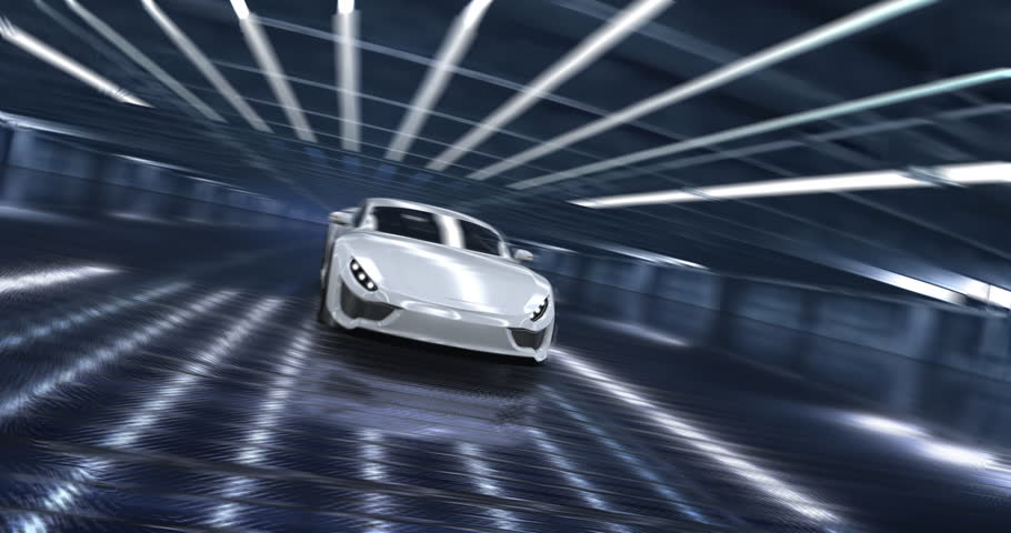 Luxury concept sports car animation with futuristic dashboard display and animated V8 engine