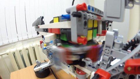 UFA, RUSSIA - JANUARY 11, 2017: Build a Rubik's Cube Robot LEGO Mindstorms EV3. Ufa, Robotics section at the Pedagogical University