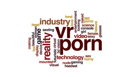 VR porn animated word cloud, text design animation. Kinetic typography.