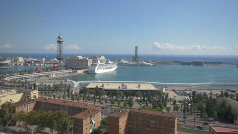 4k timelapse time lapse Barcelona port cruises boats sunny skyline aerial red cableway panoramic view aerial sight modern busy movement holidays city