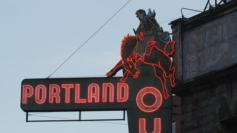 PORTLAND, OREGON, on Dec 20th: Neon rodeo sign outside Portland Outdoor Store on Dec 20th, 2016. Portland Outdoor store is a Western Outfitters store in business since 1919.