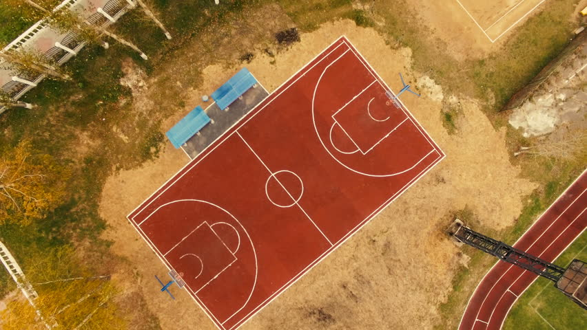 Basketball Court In Small Town Aerial Drone View Stock ...